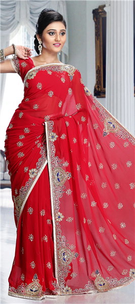 5d27d52872e Red and Maroon color family Bridal Wedding Sarees with matching unstitched  blouse.