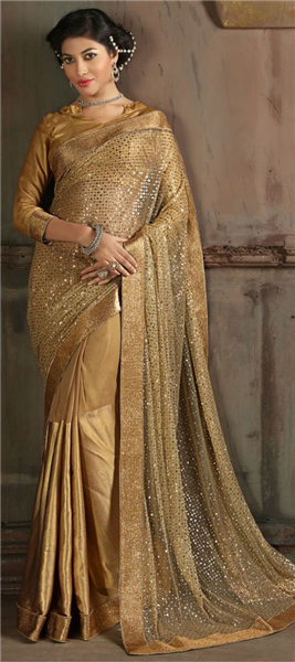 b38bde19b7 Gold color family Embroidered Sarees, Party Wear Sarees with matching  unstitched blouse. | IndianWeddingStore.com