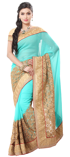 bcafc8652d4 Blue color family Embroidered Sarees