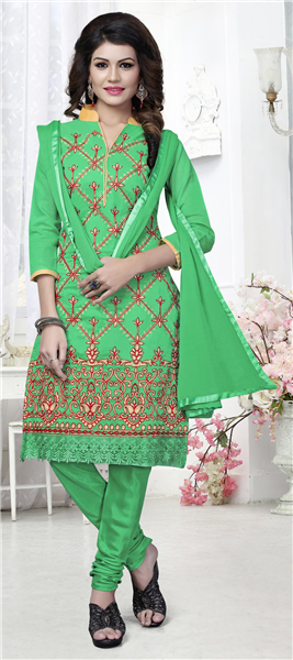 267e790cb0 Buy Salwar Kammez. Buy Sarees. prev. next. Buy Wedding Lehengas. Green  color family unstitched Cotton Salwar Kameez, Party Wear ...